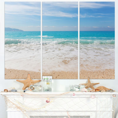 Designart White Waves Kissing Beach Sand SeashoreCanvas Print - 3 Panels