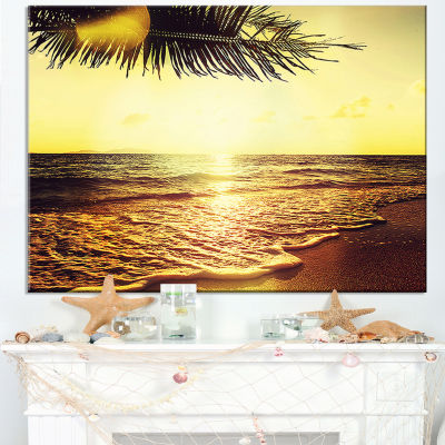 Designart Clear Yellow Tropical Coastline SeashoreCanvas Print