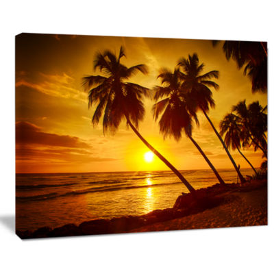 Designart Beach Sunset In Island Barbados Modern Seascape Canvas Artwork
