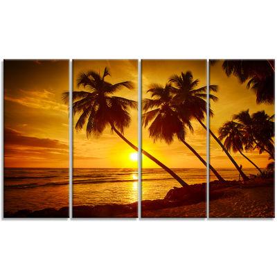 Designart Beach Sunset In Island Barbados Modern Seascape Canvas Artwork - 4 Panels