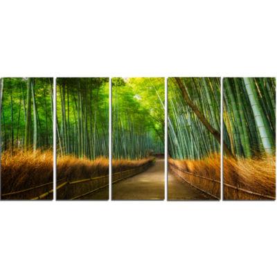 Design Art Arashiyama Bamboo Grove Japan Forest Canvas Artwork - 5 Panels