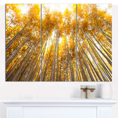 Designart Autumn Bamboo Grove In Yellow Forest Canvas Artwork - 3 Panels
