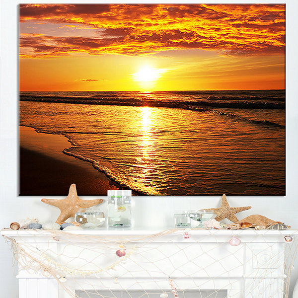 Designart Bright Yellow Sunset Over Waves Modern Beach Canvas Art Print