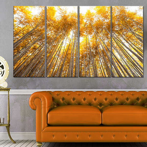 Designart Autumn Bamboo Grove In Yellow Forest Canvas Artwork - 4 Panels