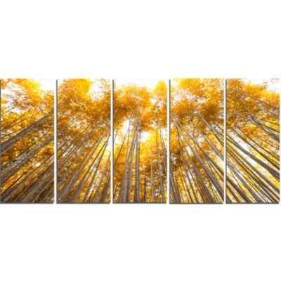 Designart Autumn Bamboo Grove In Yellow Forest Canvas Artwork - 5 Panels