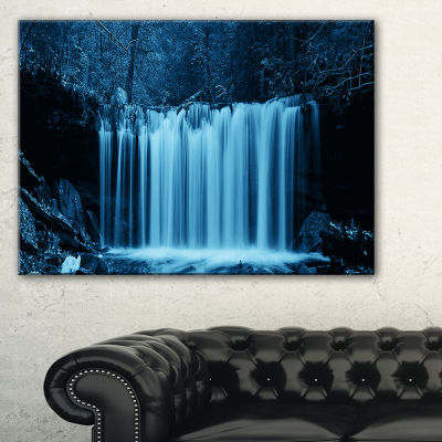 Design Art Waterfalls In Wood Black And White Landscape Canvas Art Print