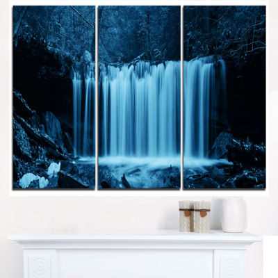 Design Art Waterfalls In Wood Black And White Landscape Canvas Art Print - 3 Panels