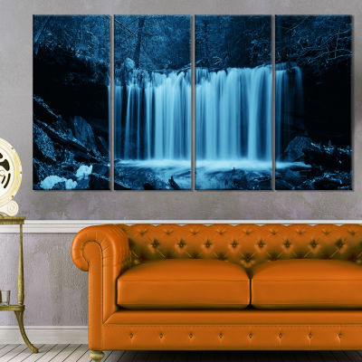 Designart Waterfalls In Wood Black And White Landscape Canvas Art Print - 4 Panels