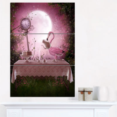Designart Fantasy Garden With A Flamingo Modern Landscape Wall Art Canvas - 3 Panels