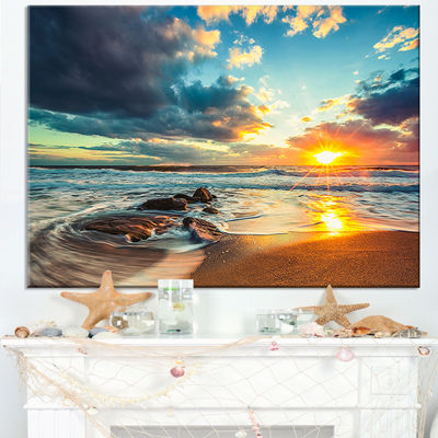 Designart Beautiful Cloudscape Over The Sea ModernBeach Canvas Art Print