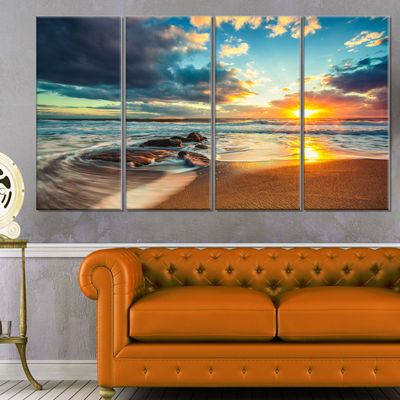 Designart Beautiful Cloudscape Over The Sea ModernBeach Canvas Art Print - 4 Panels