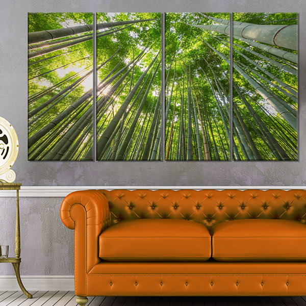 Design Art Peaks Of Bamboo In Kyoto Forest Canvas Artwork - 4 Panels