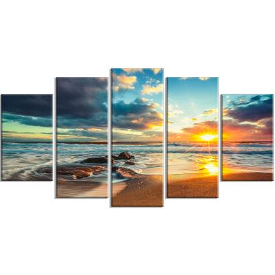 Designart Beautiful Cloudscape Over The Sea ModernBeach Canvas Art Print - 5 Panels