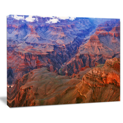 Design Art Blue And Red Grand Canyon View Landscape Artwork Canvas