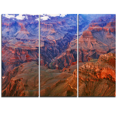 Designart Blue And Red Grand Canyon View LandscapeArtwork Canvas - 3 Panels