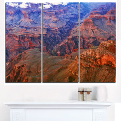 Design Art Blue And Red Grand Canyon View Landscape Artwork Canvas - 3 Panels