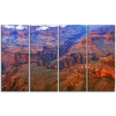 Design Art Blue And Red Grand Canyon View Landscape Artwork Canvas - 4 Panels
