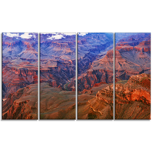 Designart Blue And Red Grand Canyon View LandscapeArtwork Canvas - 4 Panels