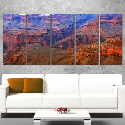 Design Art Blue And Red Grand Canyon View Landscape Artwork Canvas - 5 Panels