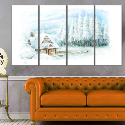Designart Christmas Winter Happy Scene Landscape Canvas Art Print - 4 Panels