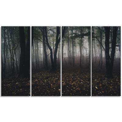 Designart Dark Spooky Misty Wild Forest Canvas Artwork - 4 Panels