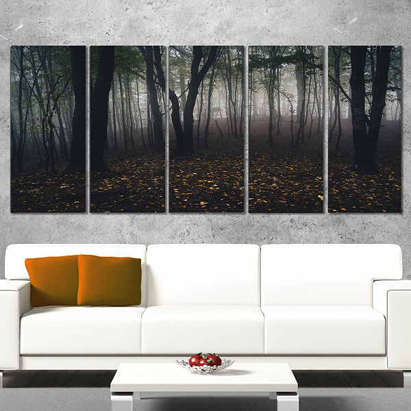 Design Art Dark Spooky Misty Wild Forest Canvas Artwork - 5 Panels