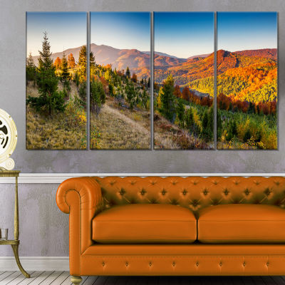Designart Majestic Fall Mountains Panorama Landscape Canvas Art Print - 4 Panels