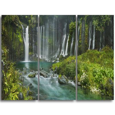 Design Art Shiraito Falls Near Mount Fuji Japan Landscape Print Wall Artwork - 3 Panels