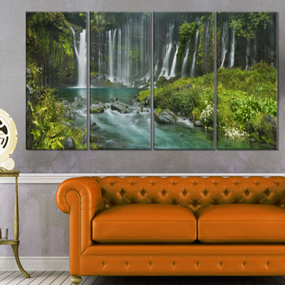 Designart Shiraito Falls Near Mount Fuji Japan Landscape Print Wall Artwork - 4 Panels