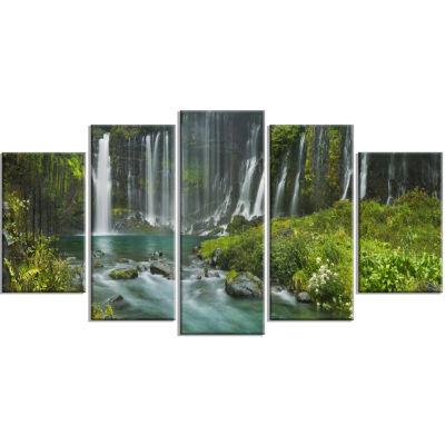 Design Art Shiraito Falls Near Mount Fuji Japan Landscape Print Wall Artwork - 5 Panels