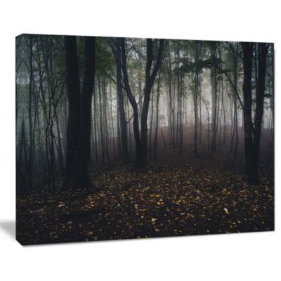 Design Art Dark Spooky Misty Wild Forest Canvas Artwork