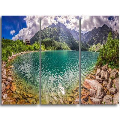 Design Art Amazing Tatra Mountains Lake Landscape Print Wall Artwork - 3 Panels