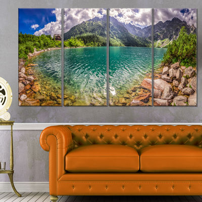 Designart Amazing Tatra Mountains Lake Landscape Print Wall Artwork - 4 Panels