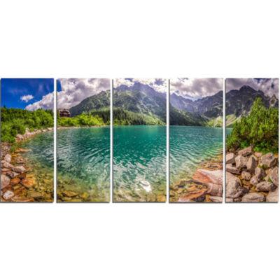 Design Art Amazing Tatra Mountains Lake Landscape Print Wall Artwork - 5 Panels