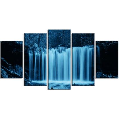 Design Art Waterfalls In Wood Black And White Landscape Canvas Art Print - 5 Panels