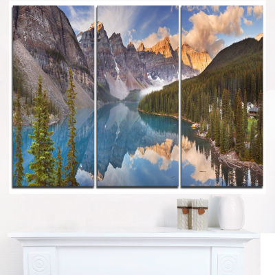 Design Art Moraine Lake In Banff Park Canada Landscape Canvas Art Print - 3 Panels