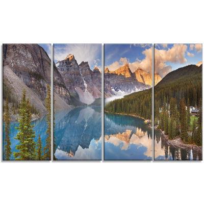 Designart Moraine Lake In Banff Park Canada Landscape Canvas Art Print - 4 Panels