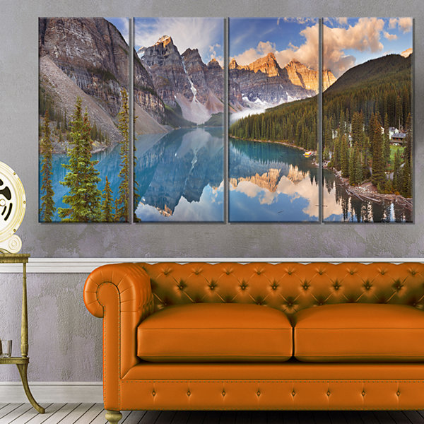Design Art Moraine Lake In Banff Park Canada Landscape Canvas Art Print - 4 Panels