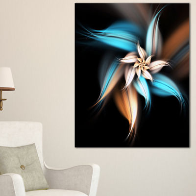 Designart Blue Brown Digital Art Fractal Flower Canvas Art Print