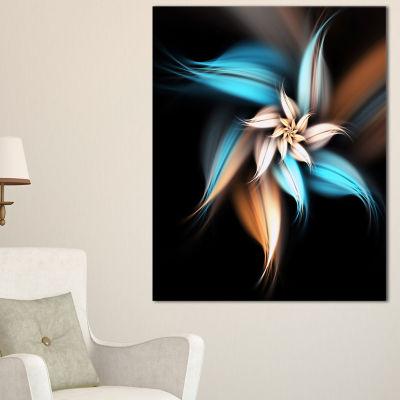 Designart Blue Brown Digital Art Fractal Flower Canvas Art Print