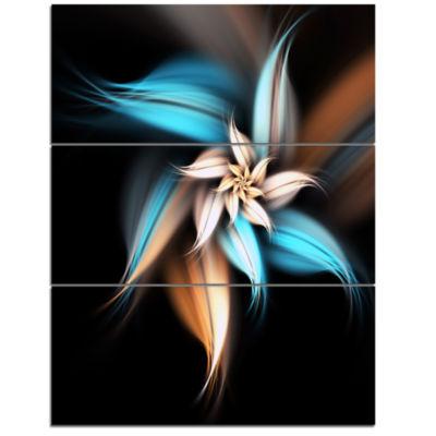 Design Art Blue Brown Digital Art Fractal Flower Canvas Art Print - 3 Panels
