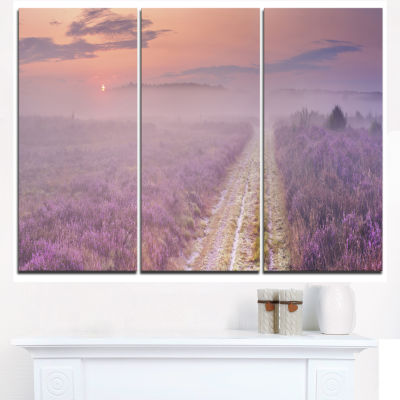 Design Art Path Through Blooming Heather Landscape Canvas Art Print - 3 Panels
