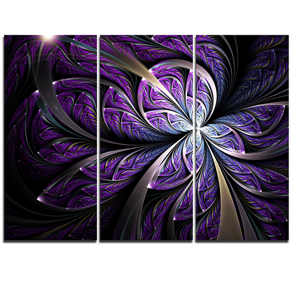 Designart Glittering Purple Fractal Flower Canvas Art Print - 3 Panels