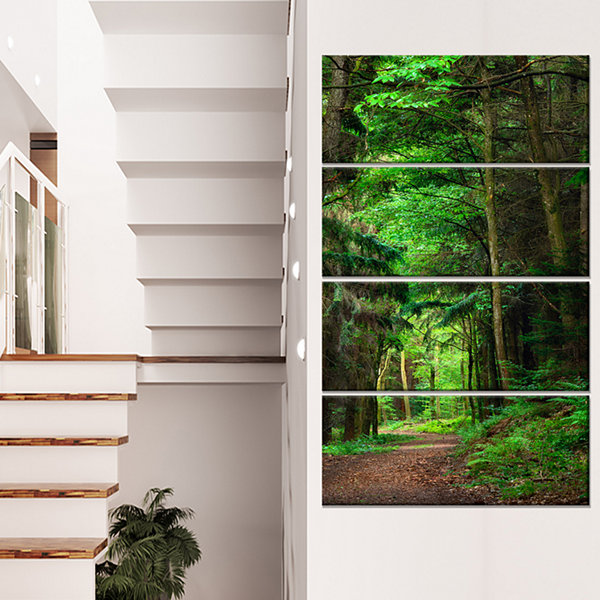 Designart Dreamy Greenery In Dense Forest Canvas Art Print - 4 Panels