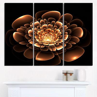 Designart Glittering Brown Yellow Fractal Flower Canvas Art Print - 3 Panels