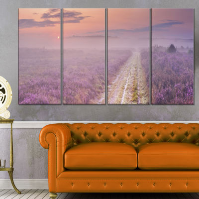 Designart Path Through Blooming Heather Landscape Canvas Art Print - 4 Panels