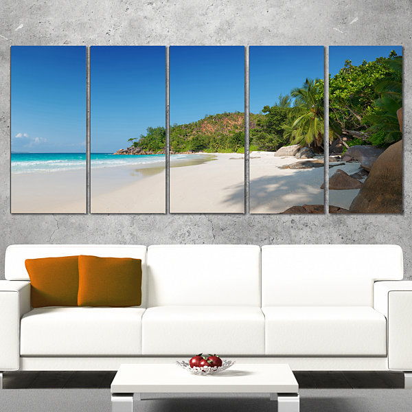 Design Art Anse Georgette Beach Light Blue Seascape Art Canvas Print - 5 Panels
