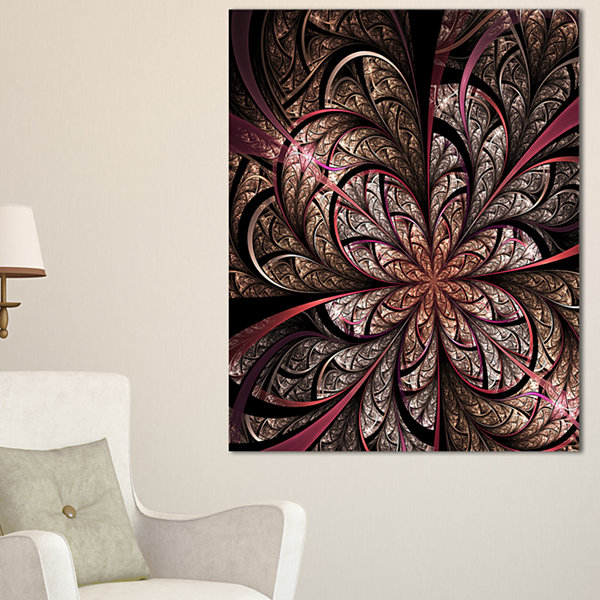 Design Art Glowing Fractal Flower Design Canvas Art Print