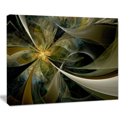 Design Art Gold And Silver Fractal Flower Canvas Art Print