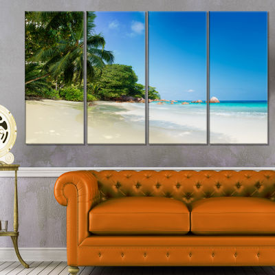 Designart Beautiful Praslin Island Seychelles Seascape Art Canvas Print - 4 Panels